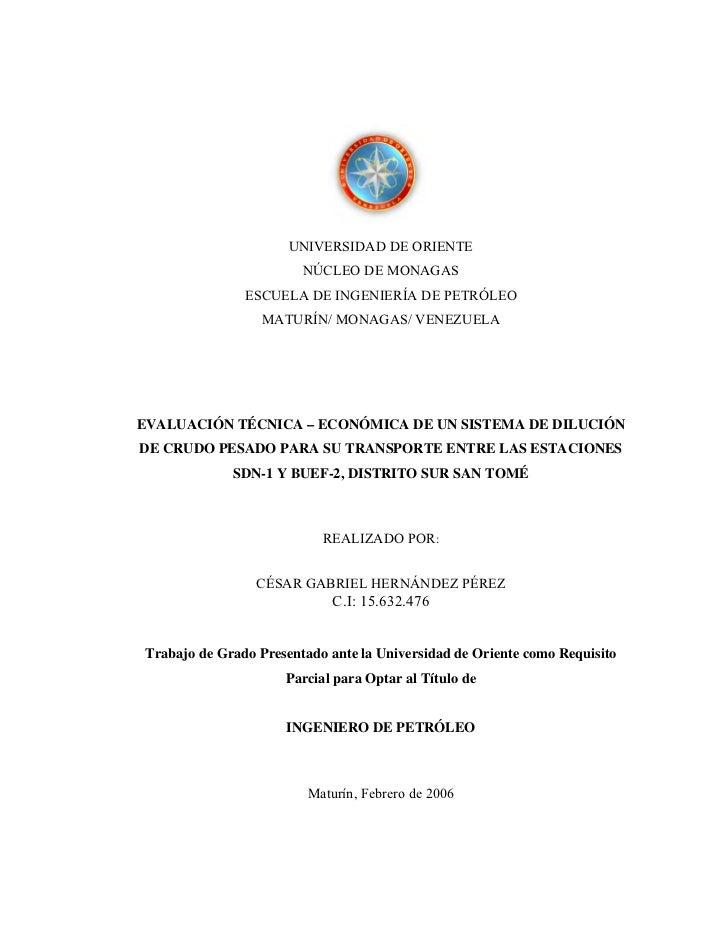 UNIVERSIDAD DE ORIENTE                        NÚCLEO DE MONAGAS               ESCUELA DE INGENIERÍA DE PETRÓLEO           ...
