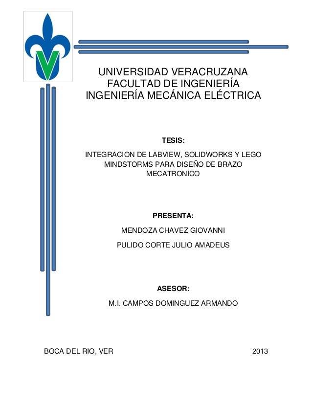 Integracion de LabVIEW, SolidWorks y Lego Mindstorms para diseño de Brazo Mecatronico