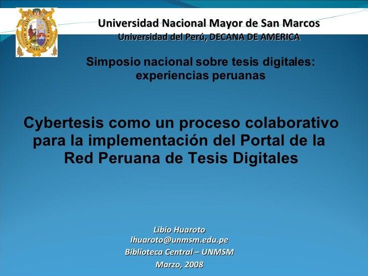 Cybertesis como un proceso colaborativopara la implementación del Portal de la Red Peruana de Tesis Digitales