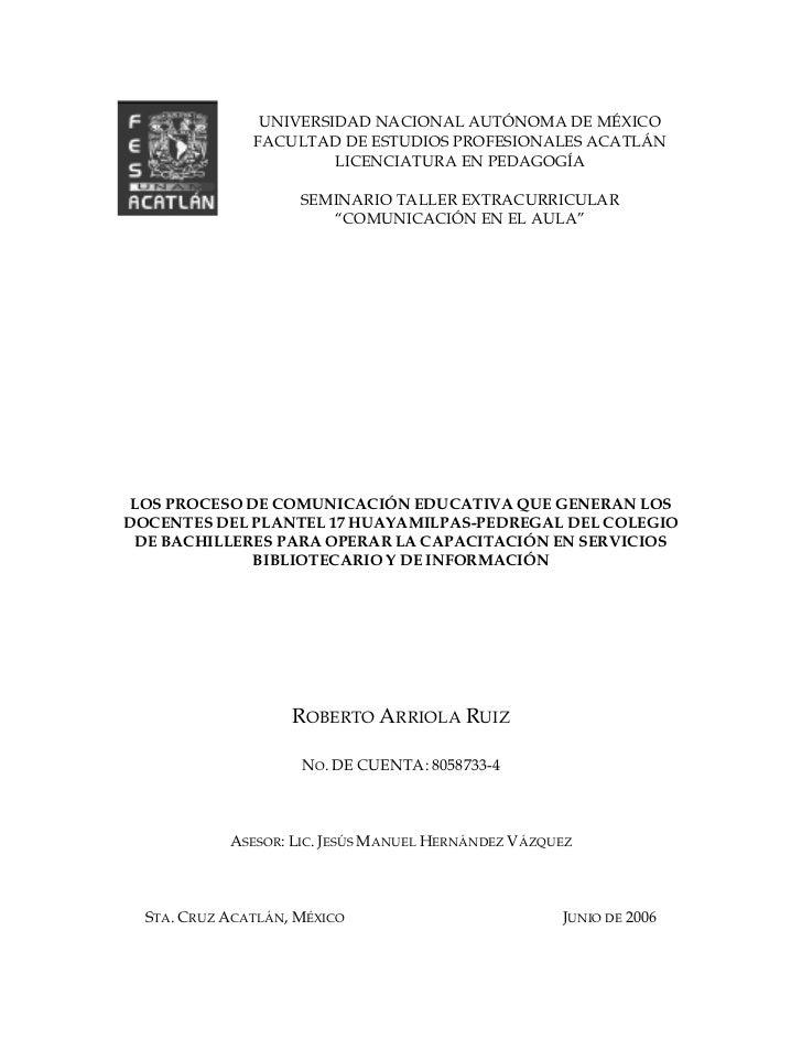 Tesis Los Proceso De ComunicacióN Educativa
