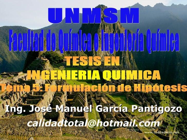 Facultad de Química e Ingeniería Química UNMSM Ing. José Manuel García Pantigozo [email_address] UNMSM - FQIQ Tesis en Ing...