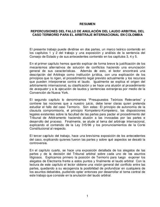 RESUMEN REPERCUSIONES DEL FALLO DE ANULACIÓN DEL LAUDO ARBITRAL DEL CASO TERMORÍO PARA EL ARBITRAJE INTERNACIONAL EN COLOM...