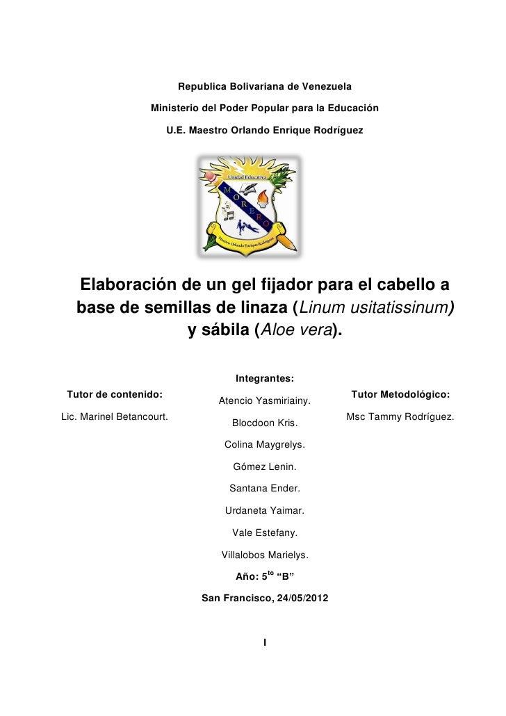 Republica Bolivariana de Venezuela                    Ministerio del Poder Popular para la Educación                      ...