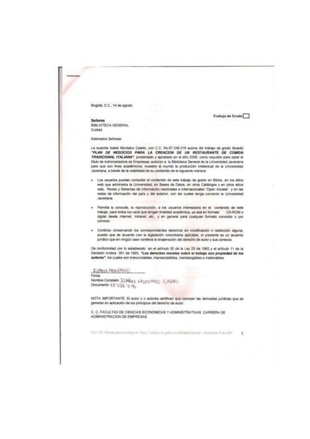 Bogotá, D.C., 14 de agosto  Trabaj o de Grado D Seflores BIBLIOTECA GENERAL Cuidad Estimados Sel'Iores: l a suscrita Isabe...