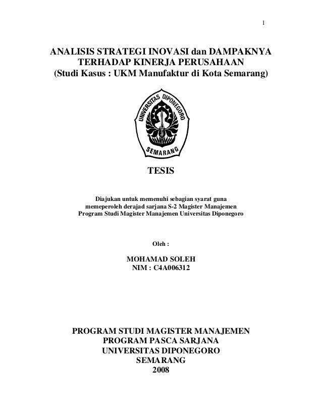 1ANALISIS STRATEGI INOVASI dan DAMPAKNYA       TERHADAP KINERJA PERUSAHAAN (Studi Kasus : UKM Manufaktur di Kota Semarang)...