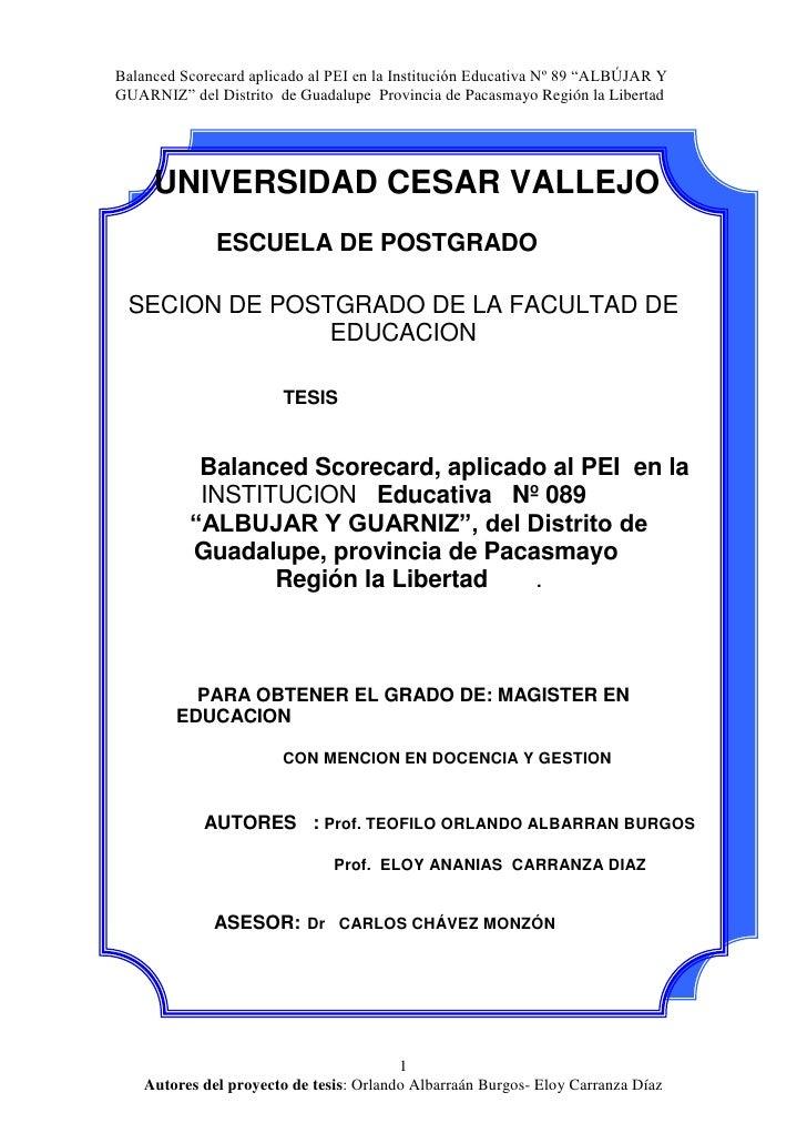 UNIVERSIDAD CESAR VALLEJO<br />ESCUELA DE POSTGRADO<br />SECION DE POSTGRADO DE LA FACULTAD DE EDUCACION<br />          ...
