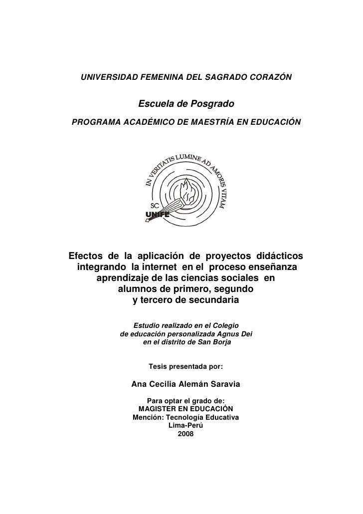 UNIVERSIDAD FEMENINA DEL SAGRADO CORAZÓN              Escuela de PosgradoPROGRAMA ACADÉMICO DE MAESTRÍA EN EDUCACIÓNEfecto...