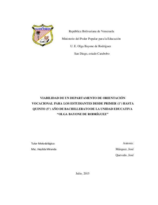 República Bolivariana de Venezuela Ministerio del Poder Popular para la Educación U. E. Olga Bayone de Rodríguez San Diego...