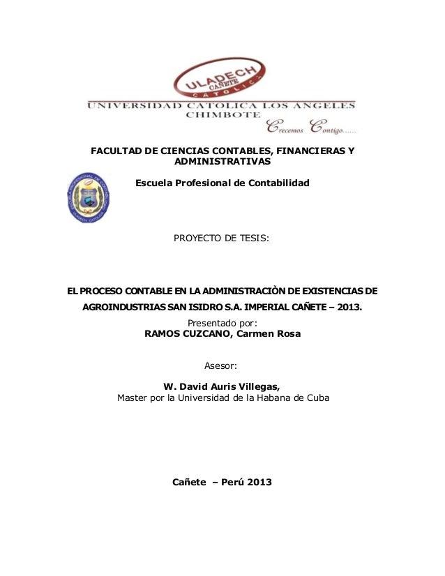 FACULTAD DE CIENCIAS CONTABLES, FINANCIERAS Y ADMINISTRATIVAS Escuela Profesional de Contabilidad PROYECTO DE TESIS: EL PR...
