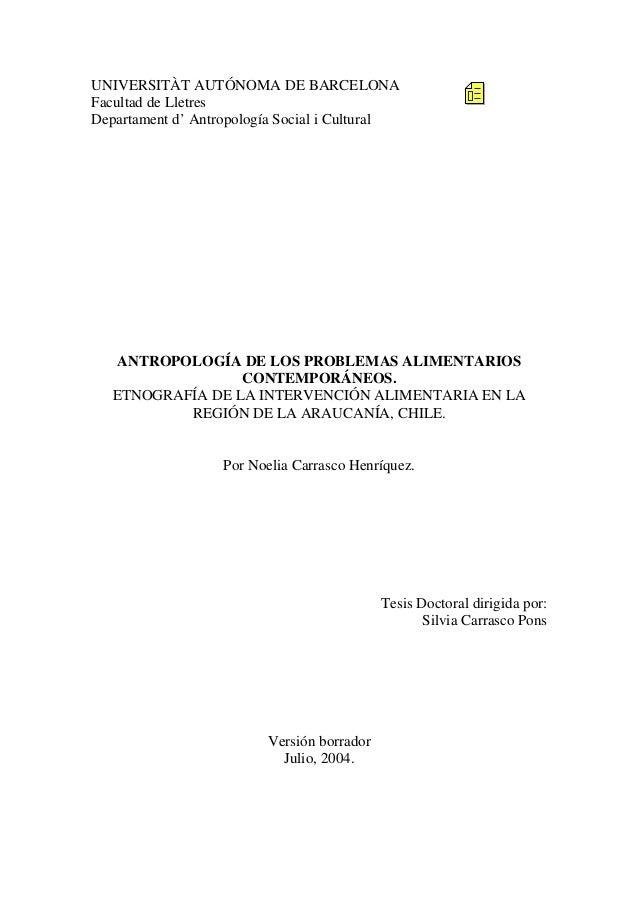 UNIVERSITÀT AUTÓNOMA DE BARCELONA Facultad de Lletres Departament d' Antropología Social i Cultural  ANTROPOLOGÍA DE LOS P...