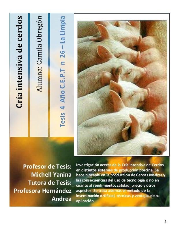 1Alumna:CamilaObregónTesis4AñoC.E.P.Tn26–LaLimpiaCríaintensivadecerdosInvestigación acerca de la Cría intensiva de Cerdose...