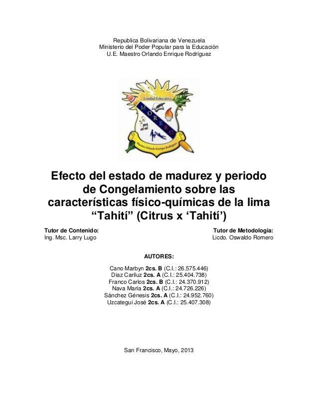 Republica Bolivariana de VenezuelaMinisterio del Poder Popular para la EducaciónU.E. Maestro Orlando Enrique RodríguezEfec...