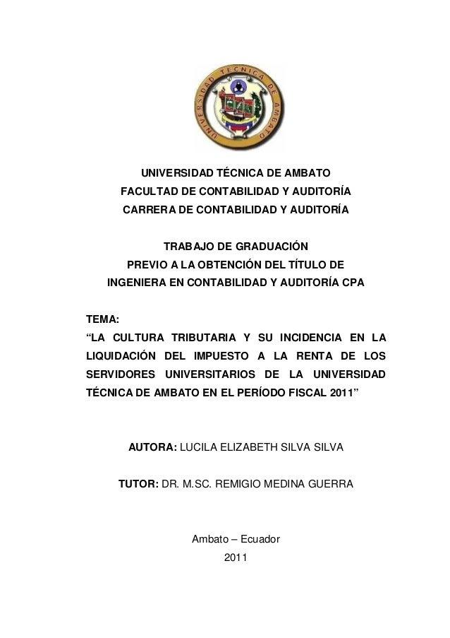 iUNIVERSIDAD TÉCNICA DE AMBATOFACULTAD DE CONTABILIDAD Y AUDITORÍACARRERA DE CONTABILIDAD Y AUDITORÍATRABAJO DE GRADUACIÓN...