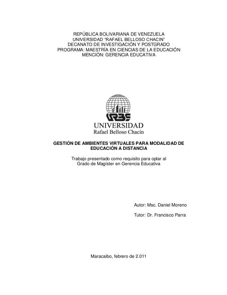 GESTIÓN DE AMBIENTES VIRTUALES PARA MODALIDAD DE EDUCACIÓN A DISTANCIA