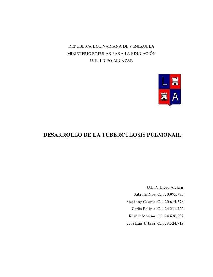 REPUBLICA BOLIVARIANA DE VENEZUELA      MINISTERIO POPULAR PARA LA EDUCACIÓN               U. E. LICEO ALCÁZARDESARROLLO D...