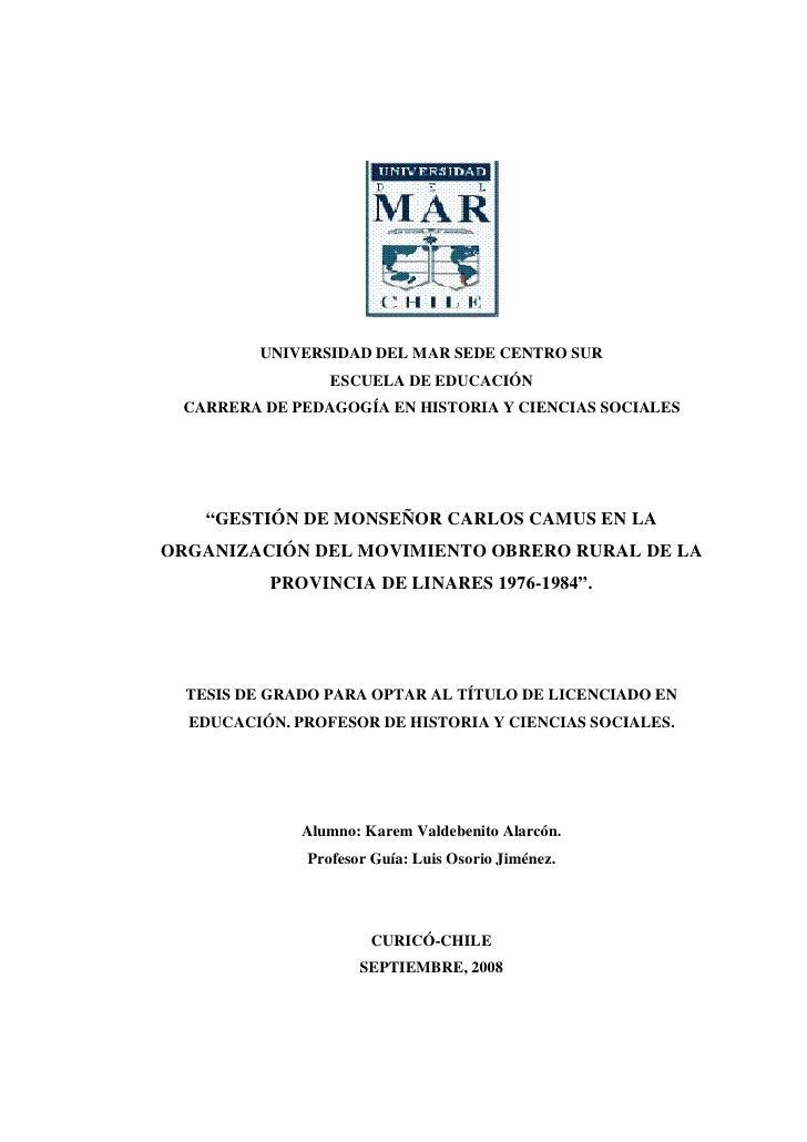 UNIVERSIDAD DEL MAR SEDE CENTRO SUR                  ESCUELA DE EDUCACIÓN  CARRERA DE PEDAGOGÍA EN HISTORIA Y CIENCIAS SOC...