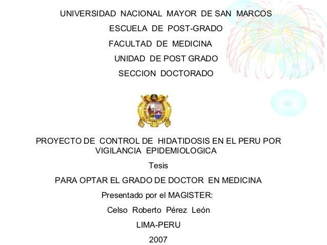 UNIVERSIDAD NACIONAL MAYOR DE SAN MARCOS ESCUELA DE POST-GRADO FACULTAD DE MEDICINA UNIDAD DE POST GRADO SECCION DOCTORADO...