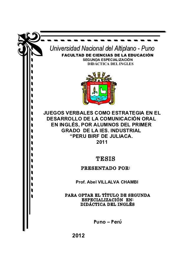 Universidad Nacional del Altiplano - Puno     FACULTAD DE CIENCIAS DE LA EDUCACIÓN             SEGUNDA ESPECIALIZACIÓN    ...
