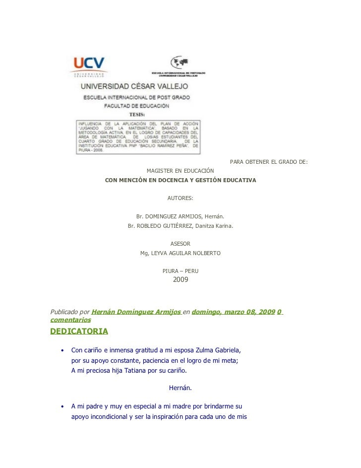 PARA OBTENER EL GRADO DE:                                 MAGISTER EN EDUCACIÓN                  CON MENCIÓN EN DOCENCIA Y...