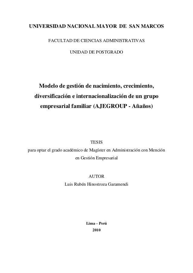 UNIVERSIDAD NACIONAL MAYOR DE SAN MARCOS FACULTAD DE CIENCIAS ADMINISTRATIVAS UNIDAD DE POSTGRADO Modelo de gestión de nac...