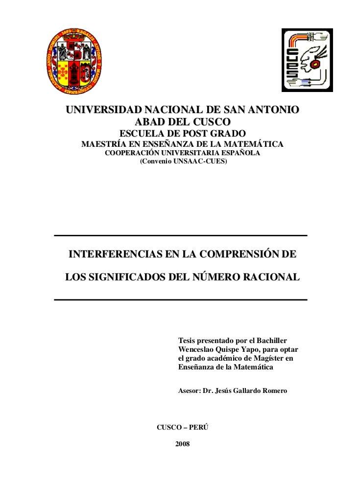 UNIVERSIDAD NACIONAL DE SAN ANTONIO          ABAD DEL CUSCO         ESCUELA DE POST GRADO  MAESTRÍA EN ENSEÑANZA DE LA MAT...