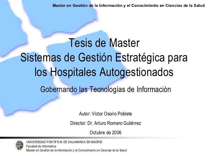 Tesis de Master. Cuadro de Mando Integral para Hospitales Autogestionados