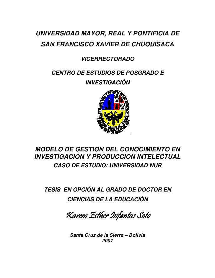 UNIVERSIDAD MAYOR, REAL Y PONTIFICIA DE SAN FRANCISCO XAVIER DE CHUQUISACA             VICERRECTORADO    CENTRO DE ESTUDIO...