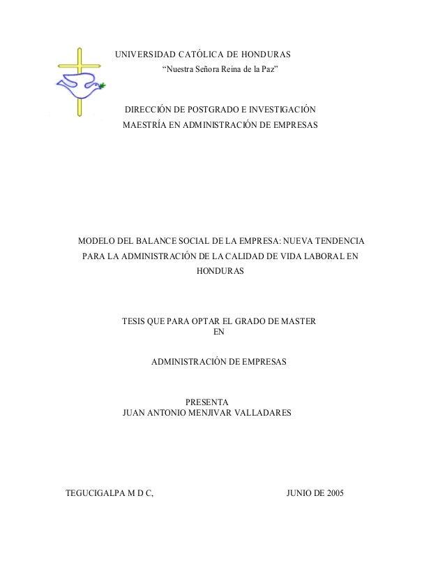 """UNIVERSIDAD CATÓLICA DE HONDURAS """"Nuestra Señora Reina de la Paz""""  DIRECCIÓN DE POSTGRADO E INVESTIGACIÓN MAESTRÍA EN ADMI..."""
