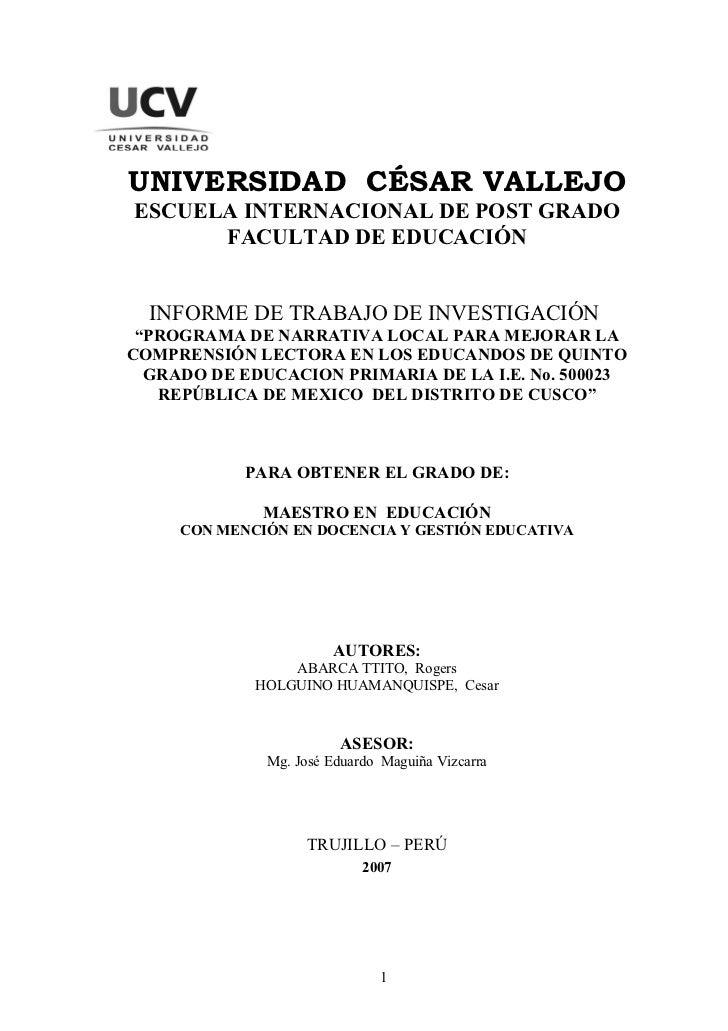 UNIVERSIDAD CÉSAR VALLEJOESCUELA INTERNACIONAL DE POST GRADO      FACULTAD DE EDUCACIÓN  INFORME DE TRABAJO DE INVESTIGACI...