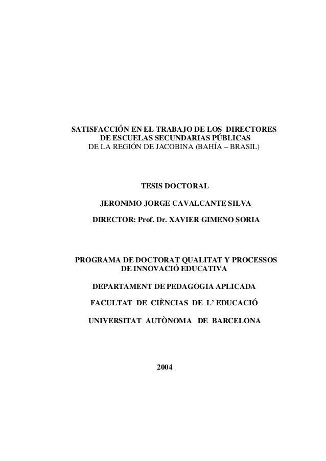 SATISFACCIÓN EN EL TRABAJO DE LOS DIRECTORES       DE ESCUELAS SECUNDARIAS PÚBLICAS    DE LA REGIÓN DE JACOBINA (BAHÍA – B...