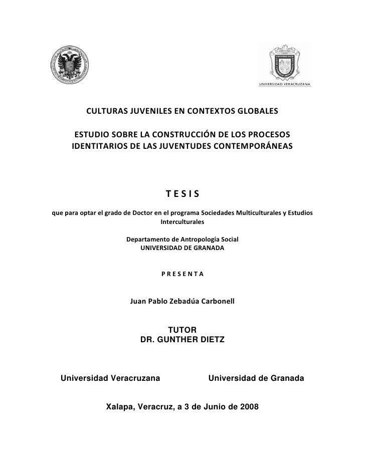 CULTURAS JUVENILES EN CONTEXTOS GLOBALES       ESTUDIO SOBRE LA CONSTRUCCIÓN DE LOS PROCESOS      IDENTITARIOS DE LAS JUVE...