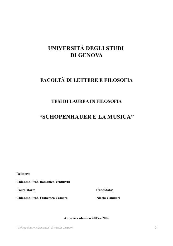 Schopenhauer e la musica