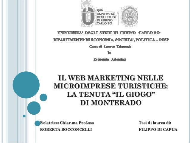 """IL WEB MARKETING NELLE MICRO-IMPRESE TURISTICHE: LA TENUTA """"IL GIOGO""""  di MONTERADO"""