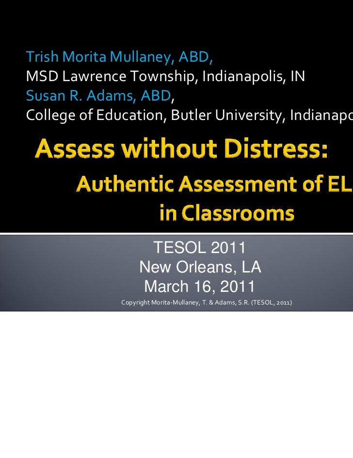 Assess without Distress:  Authentic Assessment for ELLs in the Classroom
