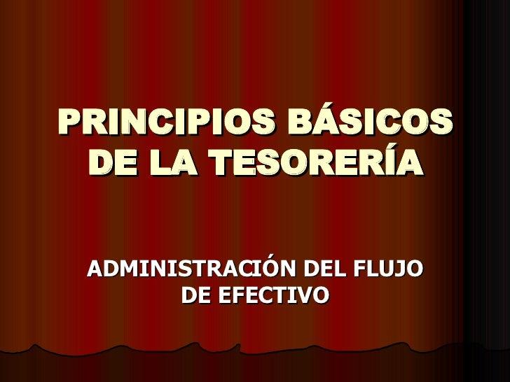 PRINCIPIOS BÁSICOS DE LA TESORERÍA ADMINISTRACIÓN DEL FLUJO DE EFECTIVO