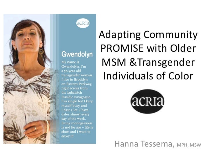 Adapting Community PROMISE with Older MSM &Transgender Individuals of Color