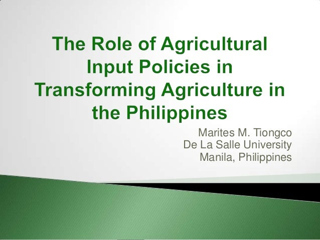 Input Policy in Philipines- Marites Tiongco