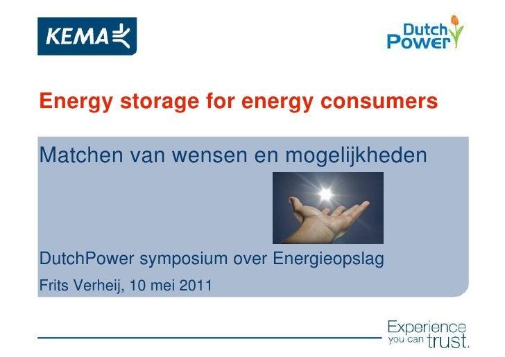 Energy storage for energy consumersMatchen van wensen en mogelijkhedenDutchPower symposium over EnergieopslagFrits Verheij...