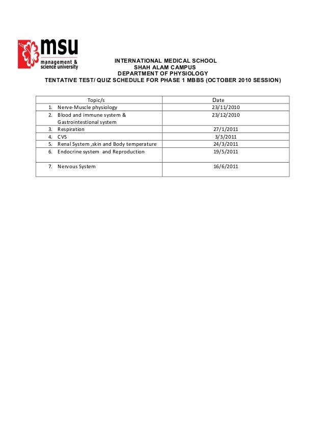 INTERNATIONAL MEDICAL SCHOOL SHAH ALAM CAMPUS DEPARTMENT OF PHYSIOLOGY TENTATIVE TEST/ QUIZ SCHEDULE FOR PHASE 1 MBBS (OCT...