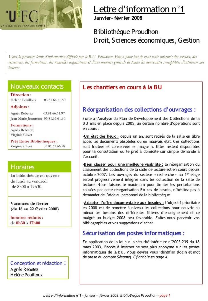 L ettre d'information n°1                                                           Janvier- février 2008                 ...