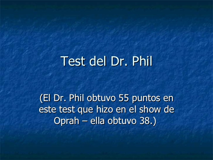 dr phil rut test