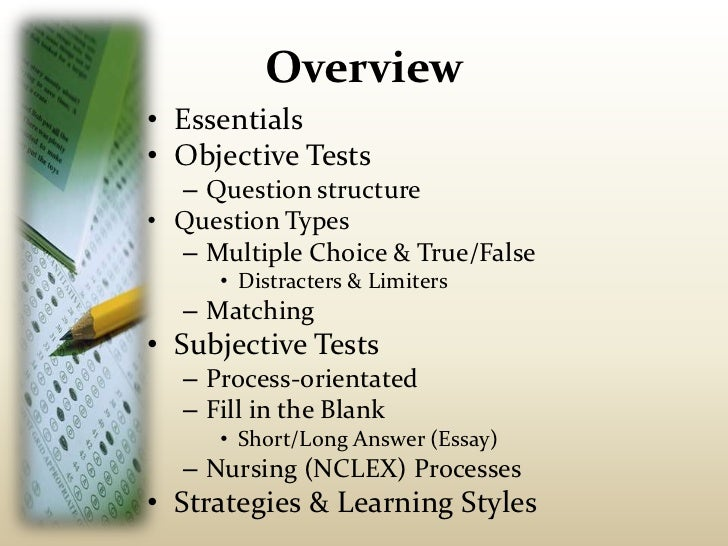 subjective essay Essays have long been utilized to test students' knowledge of a subject this is because essays require students to exert effort and dig for deeper understanding to produce a sound answer to a prompt.