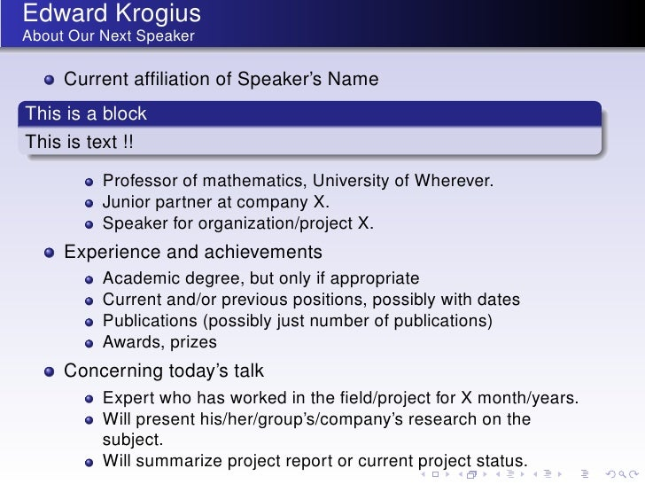Edward KrogiusAbout Our Next Speaker     Current affiliation of Speaker's NameThis is a blockThis is text !!          Profe...
