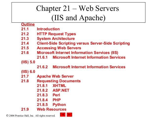 Chapter 21 – Web Servers                                (IIS and Apache)              Outline              21.1           ...