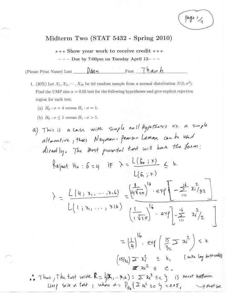 Midterm Two (STAT 5432 - Spring 2010)                  * * * Show your work to receive credit * * *                       ...