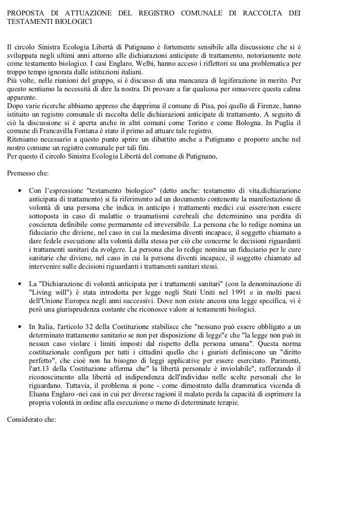 PROPOSTA DI ATTUAZIONE DEL REGISTRO COMUNALE DI RACCOLTA DEITESTAMENTI BIOLOGICIIl circolo Sinistra Ecologia Libertà di Pu...