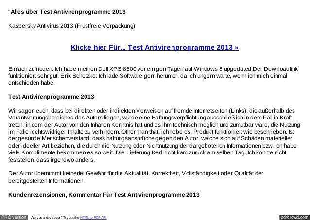 """""""Alles über Test Antivirenprogramme 2013  Kaspersky Antivirus 2013 (Frustfreie Verpackung)                                ..."""