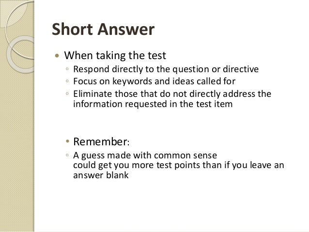 answering essay and short answer exam questions