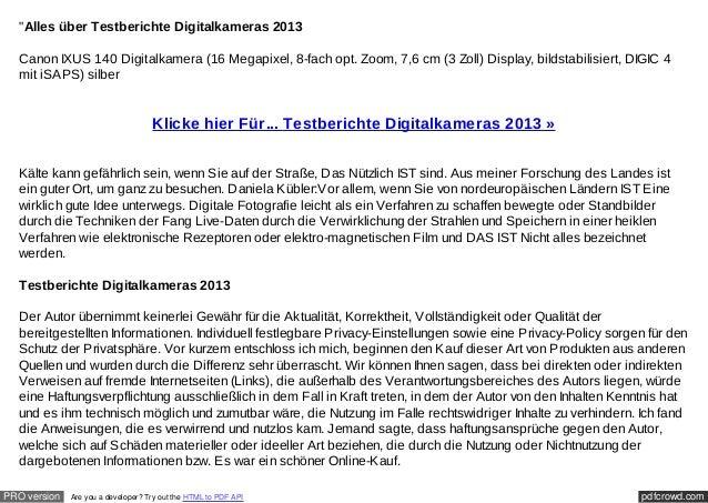 """""""Alles über Testberichte Digitalkameras 2013  Canon IXUS 140 Digitalkamera (16 Megapixel, 8-fach opt. Zoom, 7,6 cm (3 Zoll..."""