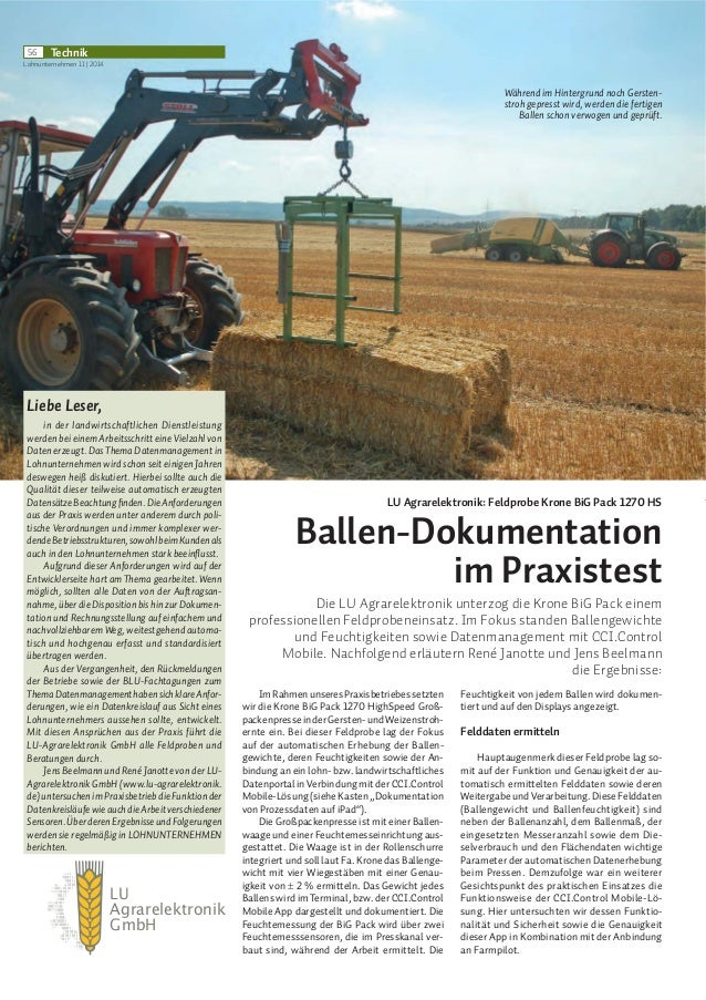 LU Agrarelektronik GmbH 56 Technik Lohnunternehmen 11 | 2014 /8 $JUDUHOHNWURQLN )HOGSUREH .URQH %L* 3DFN  +6 %DOOHQ'RNXPHQ...